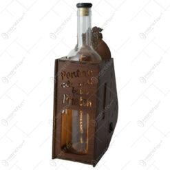 """Suport din lemn cu LED si sticla vin """"Pentru cel mai bun prieten"""""""