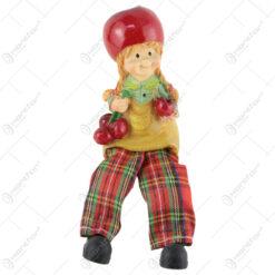 Pereche de figurine Copii cu mere cu picioare textil 15 CM