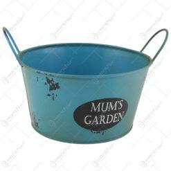 """Ghiveci rotund din metal """"Mum's Garden"""" 18 CM"""
