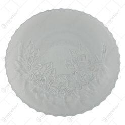 Platou din sticla transparenta cu model floral 30 CM