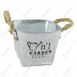 "Ghiveci din metal cu manere din sfoara ""Garden Plants"" 13 CM"