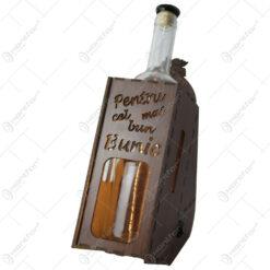 """Suport din lemn cu LED si sticla vin """"Pentru cel mai bun bunic"""""""