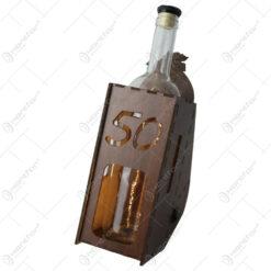 """Suport din lemn cu LED si sticla vin """"50"""""""
