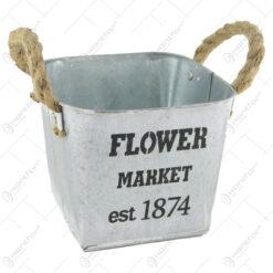 "Ghiveci din metal cu manere sfoara ""Flower Market"" 16 CM"