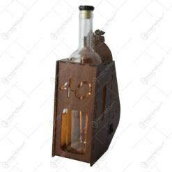 """Suport din lemn cu LED si sticla vin """"40"""""""