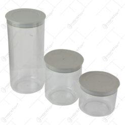 Set 3 cutii pentru depozitare alimente din plastic