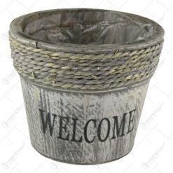 """Ghiveci din lemn cu sfoara """"Welcome"""" 17 CM"""