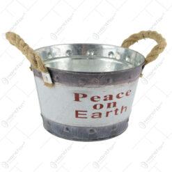 """Ghiveci din metal cu manere din sfoara """"Peace on Earth"""" 18 CM"""