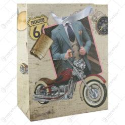 """Punga cadou din hartie 18x23 CM - Motocicleta """"Route 66"""""""