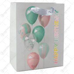 "Punga cadou din hartie 18x23 CM - ""Happy Birthday"" cu baloane"