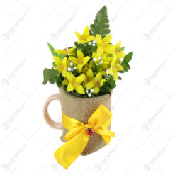 Cana decorat cu buburuza si flori de vara 16 CM