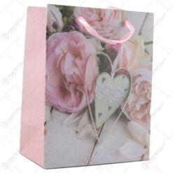 Punga cadou din hartie 18x23 CM - Rose inima