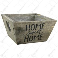 """Ghiveci din lemn pentru flori  """"Home sweet home"""" 14 CM"""