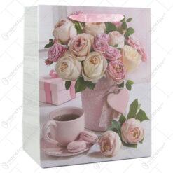 Punga cadou din hartie 18x23 CM - Roses & Tee