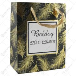 "Punga cadou din hartie 18x23 CM - ""Boldog szuletesnapot"" Frunze aurii"