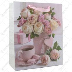 Punga cadou din hartie 26x32 CM -  Roses & Tee