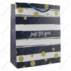 "Punga cadou din hartie 26x32 CM - Dungi ""Just for you"""