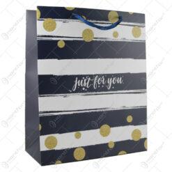 "Punga cadou din hartie 26x32 CM - Dungi ""Just for you"""
