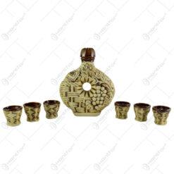 Set pentru vin din ceramica cu 6 cani - Model Impletit/Romania