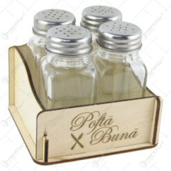 "Set 4 recipiente condimente cu suport lemn ""Pofta buna"""