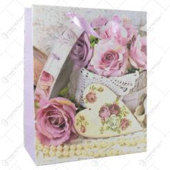 Punga cadou din hartie 26x32 CM - Rose vintage