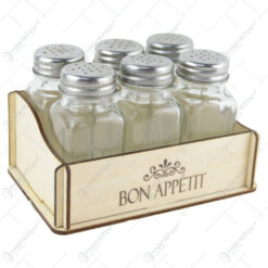 """Set 6 recipiente condimente cu suport lemn """"Bon appetit"""""""