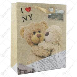 "Punga cadou din hartie 26x32 CM - ""I love Ny"" Teddy Bear"