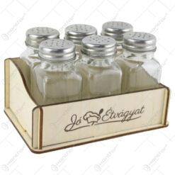 "Set 6 recipiente condimente cu suport lemn ""Jo etvagyat"""