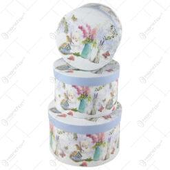 Set 3 cutii cadou rotunde Lavender/Home Sweet Home