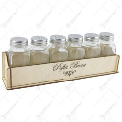 "Set 6 recipiente condimente cu suport lemn ""Pofta buna"" 27x10 CM"