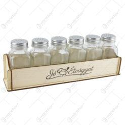 "Set 6 recipiente condimente cu suport lemn ""Jo etvagyat"" 27x10 CM"