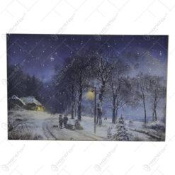 Tablou cu led realizat din panza - Peisaj De Iarna (Model 2)