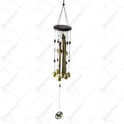 Clopotel de vant cu 4 tuburi si fluture din metal 72 CM