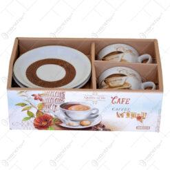 Set ceasca din 2 cesti realizate din ceramica cu farfurie - Design Coffee - Diverse modele (Model 1)