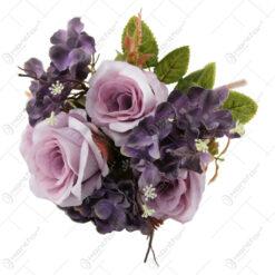 Buchet artificial Trandafir cu Hortensie si Gipsofila 44 CM