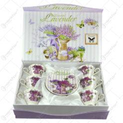 Set 6 cesti pentru cafea cu farfurii in cutie decorativa - Beautiful Lavanda