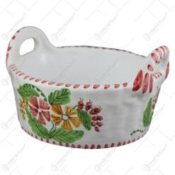 Cosulet/Bol din ceramica pictata manual 17 CM - Flori de camp