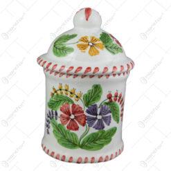 Recipient condimente din ceramica pictata manual 15 CM - Flori de camp