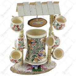 Suport poarta cu 7 cani din ceramica de Corund 37 CM