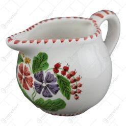 Cana pentru lapte din ceramica pictata manual 10 CM - Flori de camp