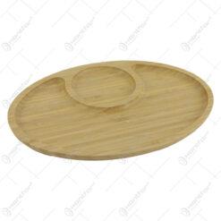 Platou compartimentat din bambus 28x19 CM