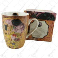 "Cana portelan 390 ml ""Sarutul"" de Gustav Klimt in cutie decorativa"