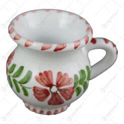 Cana tuica din ceramica pictata manual 6 CM - Flori de camp