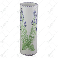 Vaza cilindru din ceramica pictata manual 23 CM - Lavanda