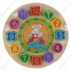 Joc educativ Ceas din lemn 19 CM