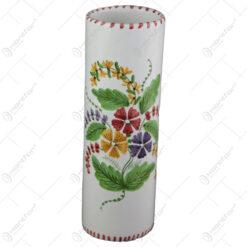 Vaza cilindru din ceramica pictata manual 23 CM - Flori de camp