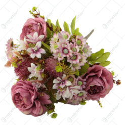 Buchet artificial Trandafir cu flori de gradina 48 CM