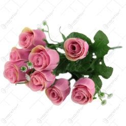 Buchet artificial Trandafir cu Gipsofila 46 CM