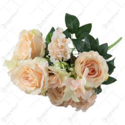 Buchet artificial Trandafir cu flori de gradina 50 CM