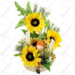 Cos decorativ cu figurina si floarea-soarelui 28 CM